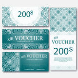 Gift voucher template with mandala. Design certificate for sport center, magazine or etc. Vector gift coupon with ornament on back Royalty Free Stock Photo
