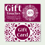 Gift voucher template with mandala. Design certificate for sport center, magazine or etc. Vector gift coupon with ornament on back. Ground stock illustration