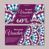 Gift voucher template with mandala. Design certificate for sport center, magazine or etc. Vector gift coupon with ornament on back Stock Photos