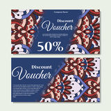 Gift voucher template with mandala. Design certificate for sport center, magazine or etc. Vector gift coupon with ornament on back Stock Photo