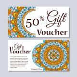 Gift voucher template with mandala. Design certificate for sport center, magazine or etc. Vector gift coupon with ornament on back Royalty Free Stock Photography