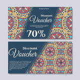 Gift voucher template with mandala. Design certificate for sport or yoga center, magazine or etc. Vector gift coupon with ornament Royalty Free Stock Image