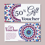 Gift voucher template with mandala. Design certificate for sport or yoga center, magazine or etc. Vector gift coupon with ornament Stock Photo