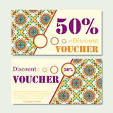 Gift voucher template with mandala. Design certificate for sport or yoga center, magazine or etc. Vector gift coupon with ornament Stock Photography