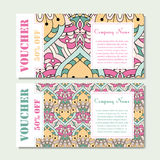 Gift voucher template with mandala. Design certificate for sport or yoga center, magazine or etc. Vector gift coupon with ornament Stock Photos