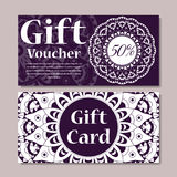 Gift voucher template with mandala. Design certificate for sport or yoga center, magazine or etc. Vector gift coupon with ornament. On background royalty free illustration