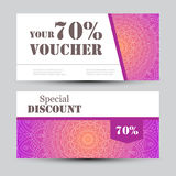Gift voucher template with mandala. Design certificate for sport or yoga center, magazine or etc. Vector gift coupon Royalty Free Stock Photography