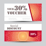 Gift voucher template with mandala. Design certificate for sport or yoga center, magazine or etc. Vector gift coupon Stock Photos