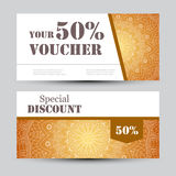 Gift voucher template with mandala. Design certificate for sport or yoga center, magazine or etc. Vector gift coupon Royalty Free Stock Photo