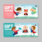 Gift voucher template and modern pattern.child concept. Voucher template with premium pattern, voucher superhero kids. Gift voucher template and modern pattern stock illustration