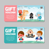 Gift voucher template and modern pattern.child concept. Voucher template with premium pattern, voucher superhero kids Royalty Free Stock Photos