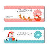 Gift voucher template and modern pattern. Voucher template with premium pattern, gift Voucher template with colorful pattern.. Merry Christmas, Happy new year Stock Images