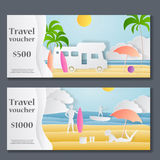 Gift Voucher template. Paper Crafted Cutout World. Concept of summer time, surf board and sea or ocean. Vector royalty free illustration