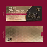 Gift voucher. Template with premium pattern and envelope design,cute  certificate coupon design template,Collection gift certificate business card banner Royalty Free Stock Photo