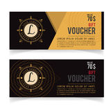 Gift Voucher template with premium vintage pattern, Vector illustration, certificate coupon design Stock Photos