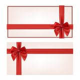 Gift voucher template with red ribbon and a bow Royalty Free Stock Photography