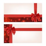 Gift voucher template with red ribbon and a bow Royalty Free Stock Image