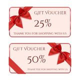Gift voucher template with red ribbon and a bow Stock Photos