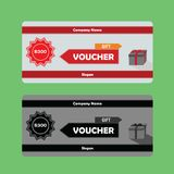 Gift Voucher template with Red theme usable for gift coupon royalty free illustration