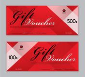 Gift Voucher template, Sale banner, Horizontal layout, discount cards, headers, website, red background royalty free illustration