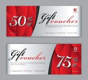 Gift Voucher template, Sale banner, Horizontal layout, discount cards, headers, website, red background. Vector illustration EPS10 royalty free illustration