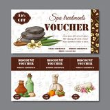 Gift voucher template with spa elements in hand drawn style. Sketch illustration. Design certificate for spa salon royalty free illustration