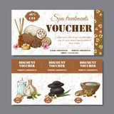 Gift voucher template with spa elements in hand drawn style. Sketch illustration. Design certificate for spa salon vector illustration