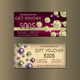 Gift Voucher Template With Sparkles and Pears For your Design. Stock Photo