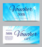 Gift voucher template. On three and five hundred dollars with blue light circles and beams pattern. Vector illustration Royalty Free Stock Photos