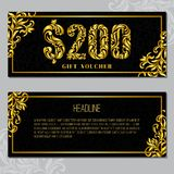 Gift voucher template 200 USD. The inscription created from a floral ornament. Golden Letters on a black background with floral pattern. VIP design royalty free illustration