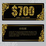Gift voucher template 800 USD. The inscription created from a floral ornament. Golden Letters on a black background with floral pattern. VIP design stock illustration