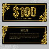 Gift voucher template 100 USD. The inscription created from a floral ornament. Golden Letters on a black background with floral pattern. VIP design stock illustration