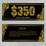 Gift voucher template 350 USD. The inscription created from a floral ornament. Golden Letters on a black background with floral pattern. VIP design stock illustration