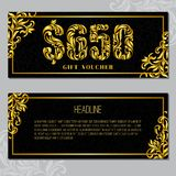 Gift voucher template 650 USD. The inscription created from a floral ornament. Golden Letters on a black background with floral pattern. VIP design stock illustration