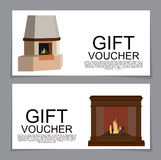 Gift Voucher Template with variation of fireplaces, stoves Disco. Unt Coupon. Vector Illustration. EPS10 Stock Image