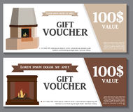 Gift Voucher Template with variation of fireplaces, stoves Disco. Unt Coupon. Vector Illustration. EPS10 Stock Photography