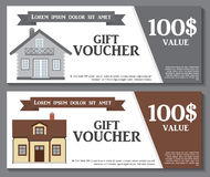 Gift Voucher Template with variation of House Discount Coupon.  Stock Photos