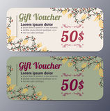Gift voucher template with vintage  pattern Stock Photo