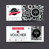 Gift voucher template zentangle style for spa,beauty,fashion business and so on. Stock Photos
