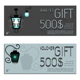 Gift voucher vector coupon lamp Royalty Free Stock Photo