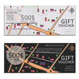 Gift voucher vector coupon map Royalty Free Stock Image