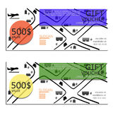 Gift voucher vector coupon map Stock Image