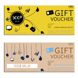 Gift voucher vector coupon map Stock Images