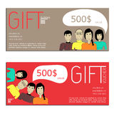 Gift voucher vector coupon people Stock Image