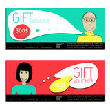 Gift voucher vector coupon people Royalty Free Stock Photo