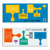 Gift voucher vector coupon template for company corporate style Stock Photography
