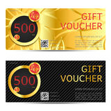 Gift voucher vector coupon template for company corporate style Royalty Free Stock Photos