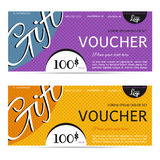 Gift voucher vector coupon template for company corporate style Stock Photos