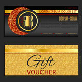 Gift voucher vector coupon template gold Stock Images