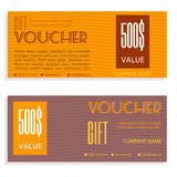 Gift voucher vector coupon template. Present Royalty Free Stock Photo